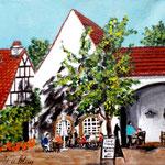155 - im Hof des Jagdschloß Grunewald,  Acryl auf LW/KR, 15 x 15 cm