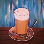 Milchcaffè - Acryl auf LW/KR, 40 x 40 cm
