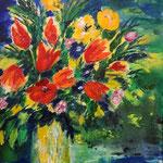 Frühlingblumen, Acryl auf LW/KR, 50 x 40 cm