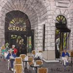169 - Café Grosz im Cumberlandhaus, Acryl auf LW/KR, 15 x 15 cm