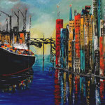 colored port impression, Acryl auf LW/KR, 70 x 80 cm - WVZ 2015-29