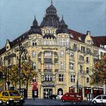 154 - Commerzbank Kurfürstendamm Ecke Leibnizstr. -Acryl auf LW/KR, 15 x 15 cm -verkauft-