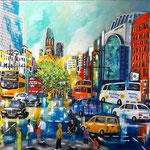 Traffic in Berlin - Tauentzien - Acryl auf LW/KR, 80 x 60 cm, WVZ 2018-08