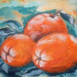 Orangen 07, Acryl in Granuliertechnik auf Ölmalpapier, 40 x 30 cm