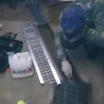 クレーチング切断・合わせ→防水モルタル塗り