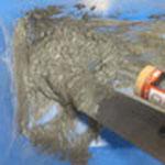 これはセメント系補修材です。ポリマー入りですので普通のモルタルより補修向きです。