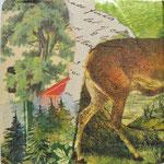 """Collage """"Der Hirsch geht weg"""", 10 x 10 cm, Papiercollage auf Pappwabenplatte, Heike Roesner/2020 - verfügbar"""