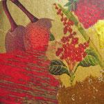 """Collage """"Goldene Zeiten"""", 7 x 7 cm, Papiercollage auf Pappwabenplatte, Heike Roesner/2020"""
