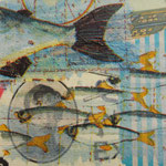 """Collage """"Flotte Fische"""", 7 x 7 cm, Papiercollage auf Pappwabenplatte, Heike Roesner/2020"""