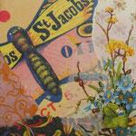"""Collage """"St. Jacobs"""", 10 x 10 cm, Papiercollage auf Pappwabenplatte, Heike Roesner/2020"""