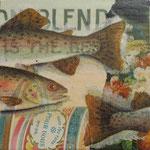 """Collage """"POUR VOUS!"""", 10 x 10 cm, Papiercollage auf Pappwabenplatte, Heike Roesner/2020"""