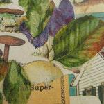 """Collage """"Der Pflaumenbaum vorm Haus"""", 7 x 7 cm, Papiercollage auf Pappwabenplatte, Heike Roesner/2020"""