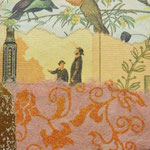 """Collage """"Der Sonntagsspaziergang"""", 7 x 7 cm, Papiercollage auf Pappwabenplatte, Heike Roesner/2020"""
