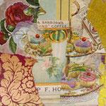 """Collage """"Kaffee und Kuchen!"""", 10x 10 cm, Papiercollage auf Pappwabenplatte, Heike Roesner/2020"""