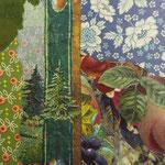 """Collage """"Auszeit im Wald"""", 10 x 10 cm, Papiercollage auf Pappwabenplatte, Heike Roesner/2020"""