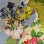 """Collage """"Frühlingsfreuden"""", 7 x 7 cm, Papiercollage auf Pappwabenplatte, Heike Roesner/2020 - nicht verfügbar"""