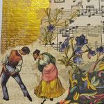 """Collage """"Tarantella und Blumen"""", 10x 10 cm, Papiercollage auf Pappwabenplatte, Heike Roesner/2020"""