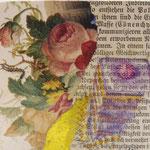 "Collage ""Petit Four"", 7 x 7 cm, Papiercollage auf Pappwabenplatte, Heike Roesner/2020"