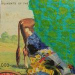 """Collage """"Ab ins Grüne!"""", 10 x 10 cm, Papiercollage auf Pappwabenplatte, Heike Roesner/2020"""