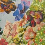 """Collage """"Blütenzauber"""", 7 x 7 cm, Papiercollage auf Pappwabenplatte, Heike Roesner/2020"""
