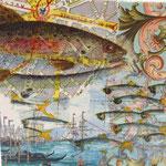 """Collage """"Venezianische Fische"""", 10 x 10 cm, Papiercollage auf Pappwabenplatte, Heike Roesner/2020 - nicht verfügbar"""