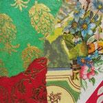 """Collage """"Der Blick aus dem Fenster ..."""", 7 x 7 cm, Papiercollage auf Pappwabenplatte, Heike Roesner/2020"""