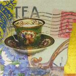 """Collage """"It's Teatime"""", 10 x 10 cm, Papiercollage auf Pappwabenplatte, Heike Roesner/2020"""