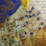 """Collage """"Frühlingstag"""", 10 x 10 cm, Papiercollage auf Pappwabenplatte, Heike Roesner/2020"""