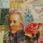 """Collage """"Kakao und Mozart"""", 10 x 10 cm, Papiercollage auf Pappwabenplatte, Heike Roesner/2020"""