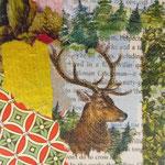 """Collage """"Die Geschichte vom Hirschen"""", 10 x 10 cm, Papiercollage auf Pappwabenplatte, Heike Roesner/2020"""