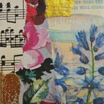 """Collage """"Blumenmusik mit Tee"""", 7 x 7 cm, Papiercollage auf Pappwabenplatte, Heike Roesner/2020"""