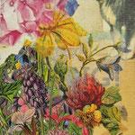 """Collage """"Der Blumenhund"""", 7 x 7 cm, Papiercollage auf Pappwabenplatte, Heike Roesner/2020"""