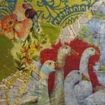 """Collage """"Die Gänse von Paris"""", 10 x 10 cm, Papiercollage auf Pappwabenplatte, Heike Roesner/2020"""