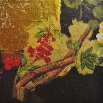 """Collage """"Ein Goldstück"""", 7 x 7 cm, Papiercollage auf Pappwabenplatte, Heike Roesner/2020"""