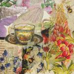 """Collage """"Ein Tässchen Tee im Grünen!"""", 10x 10 cm, Papiercollage auf Pappwabenplatte, Heike Roesner/2020"""