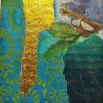 """Collage """"Glücksblitz"""", 7 x 7 cm, Papiercollage auf Pappwabenplatte, Heike Roesner/2020"""