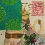 """Collage """"Kanadischer Teeliebhaber"""", 10 x 10 cm, Papiercollage auf Pappwabenplatte, Heike Roesner/2020"""