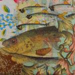"""Collage """"Goldige Fischfamilie"""", 7 x 7 cm, Papiercollage auf Pappwabenplatte, Heike Roesner/2020"""