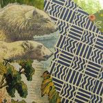 """Collage """"Ein Herz für die Eisbären"""", 7 x 7 cm, Papiercollage auf Pappwabenplatte, Heike Roesner/2020"""