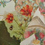 """Collage """"Liebesbrief und Blumen"""", 10x 10 cm, Papiercollage auf Pappwabenplatte, Heike Roesner/2020"""