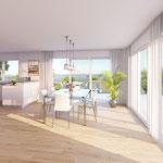 Attikageschoss: Essen – Auch Ihre Gäste werden es lieben: Enorm grosszügiger Bereich Essen/Küche (31 m2!)