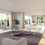 Blick vom Wohnbereich der 4.5-Zimmer-Gartenwohnung hin zu Essbereich und Küche