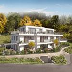 Ansicht an das von den Architekten sorgfältig entworfene Gebäude mit nur drei Wohnungen.