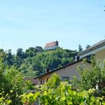 Vom Garten aus sieht man auch auf den Staufberg.