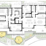 Grundriss Obergeschoss (links: Bereich der 5.5-Zimmer-Duplex-Attikawohnung im Obergeschoss / rechts: 3.5-Zimmer-Wohnung)