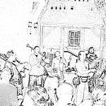 Musiker während des Stargarder Burgfest