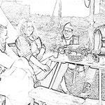 Gruppenfoto im Lager