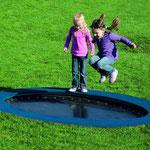 Trampolin JUMP FOUR  2,50 x 1,50 m außen - 2,00 x 1,00 m innen (oval) - Gummimatte geschlossen