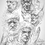 Estudio de rostros. Bolígrafo.