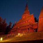 Stabkirche in Hahnenklee bei Nacht